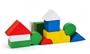 Деревянный цветной конструктор 14 деталей Томик