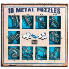 Набор из 10 металлических головоломок голубой