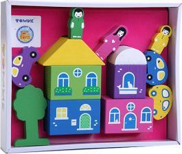Конструктор Цветной городок розовый 14 деталей Томик