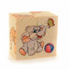 Кубики пазл ДИКИЕ ЖИВОТНЫЕ 4 кубика