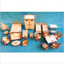 Набор мебели в деревянной коробке для кукольного домика