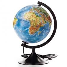Глобус Земли физико-политический 250 мм с подсветкой Рельефный Классик