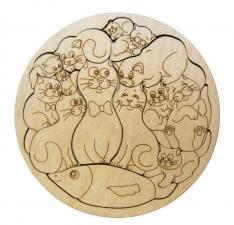 Деревянный пазл-раскраска Коты