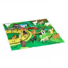 """Набор животных BONDIBON """"Ребятам о Зверятах"""", домашние животные и птицы, 4"""", 20 шт. , игровое поле."""