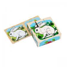 Кубики Животные леса 9 кубиков Томик