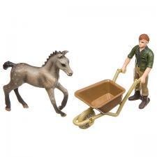 Набор фигурок Фермер с тачкой и жеребёнком ПВХ