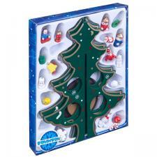 Деревянная ёлочка 3D с игрушками 25 см Новогодний набор