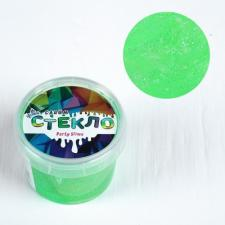 Слайм Стекло с зелёными неоновыми блёстками 100г