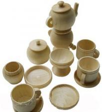 Набор миниатюрной деревянной посуды 12 предметов